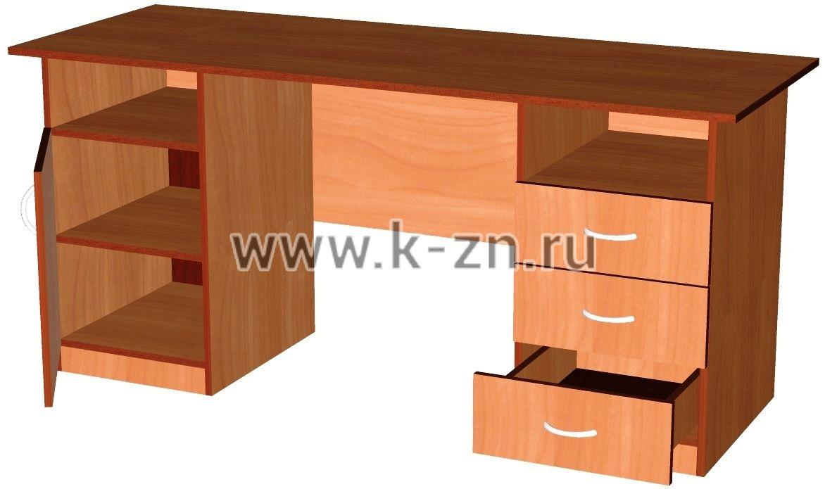 Стол письменный с двумя тумбами (2 ящика, 2 ниши, 2 полки за.