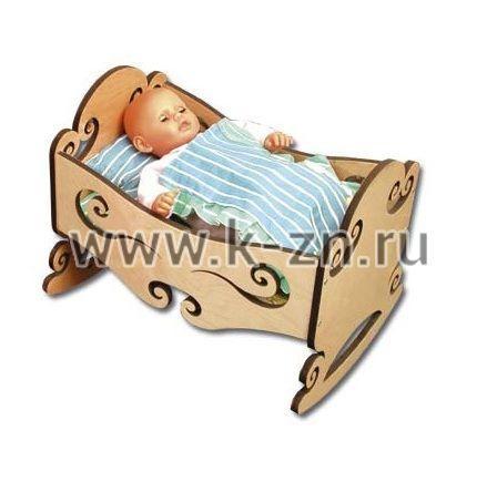 Кроватка-качалка для куклы из фанеры